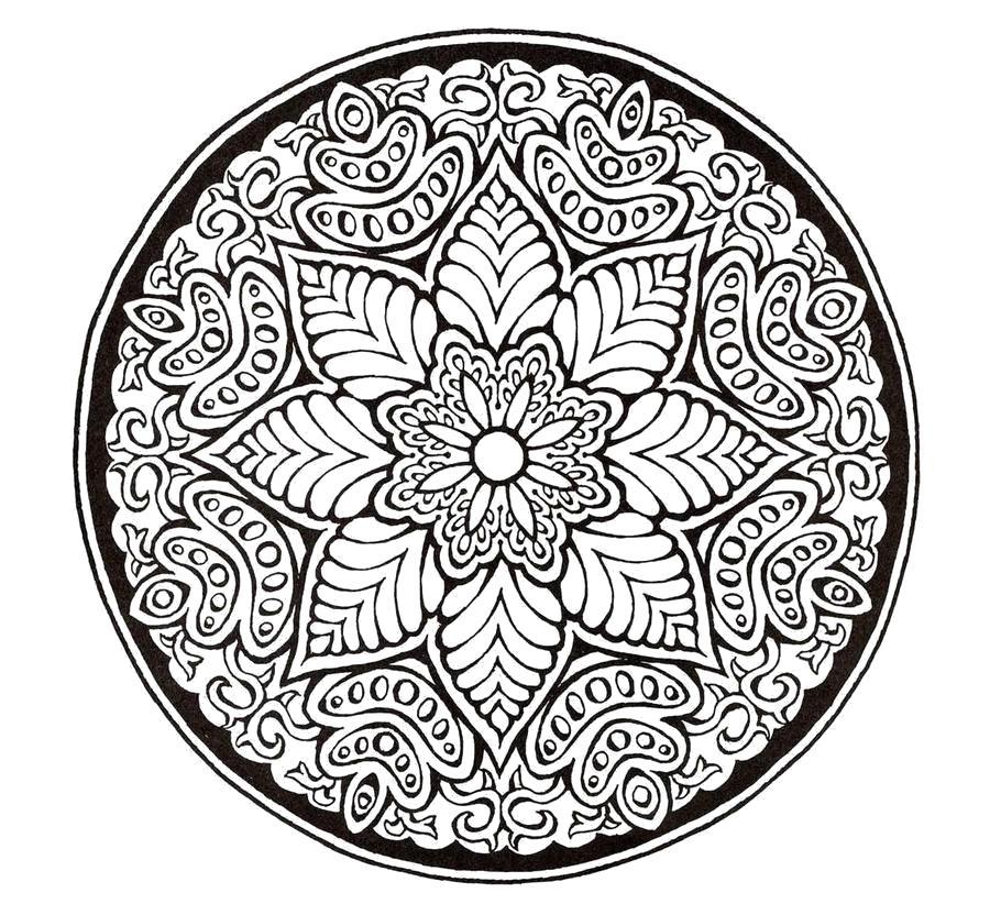 Раскраска узоры в круге.