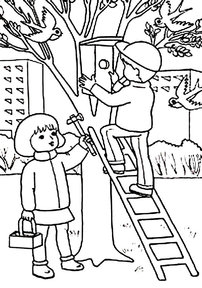 Раскраска Детские раскраски времена года. Дети вешают скворечник. Времена года