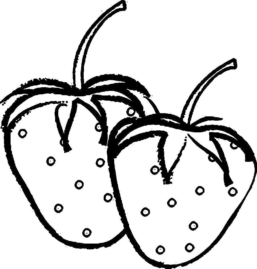 Раскраска Раскраски шаблон ягоды клубника, ягоды контур для вырезания из бумаги. ягоды