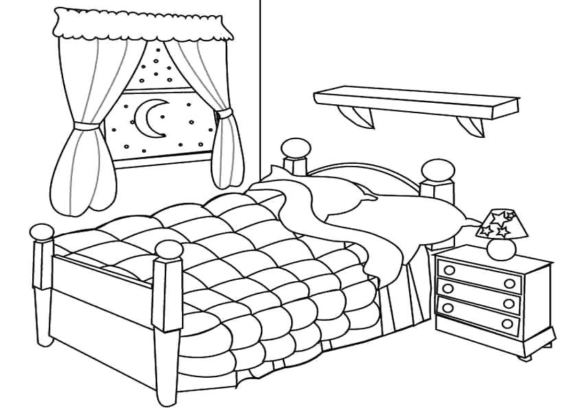 Раскраска Мебель. . кровать, тумбочка, занавеска. Скачать мебель.  Распечатать мебель