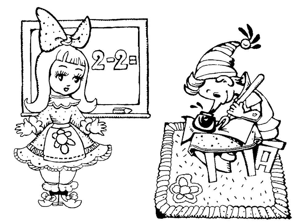 Раскраска Развивающие картинки герои сказок для раскрашивания. Мальвина учит Буратино писать и считать. Скачать буратино.  Распечатать герои сказок