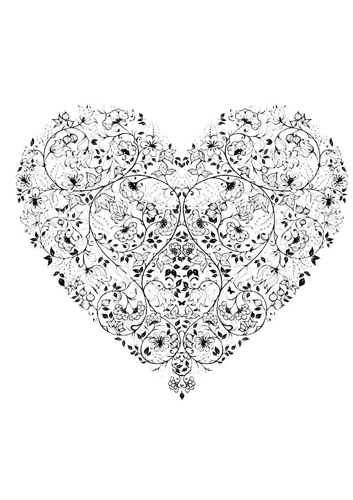 Раскраска Антистресс Сердце, арт терапия  скачать бесплатно,  антистресс для взрослых  распечатать. Скачать 14 февраля, сердечко.  Распечатать День святого валентина