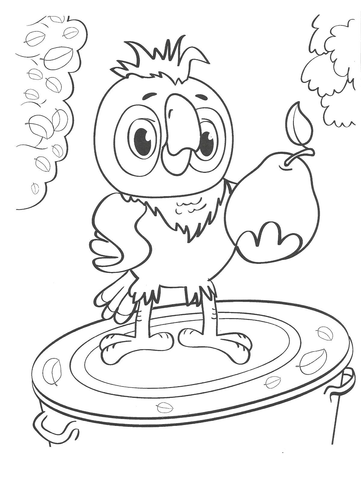 Раскраска попугай Кеша. попугай