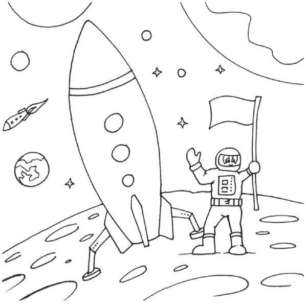 Раскраска ракета на луне. ракета
