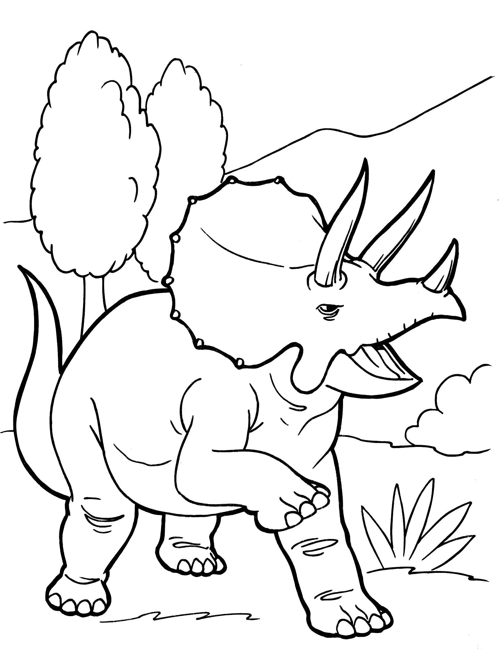 Раскраска Трицератопс. динозавр