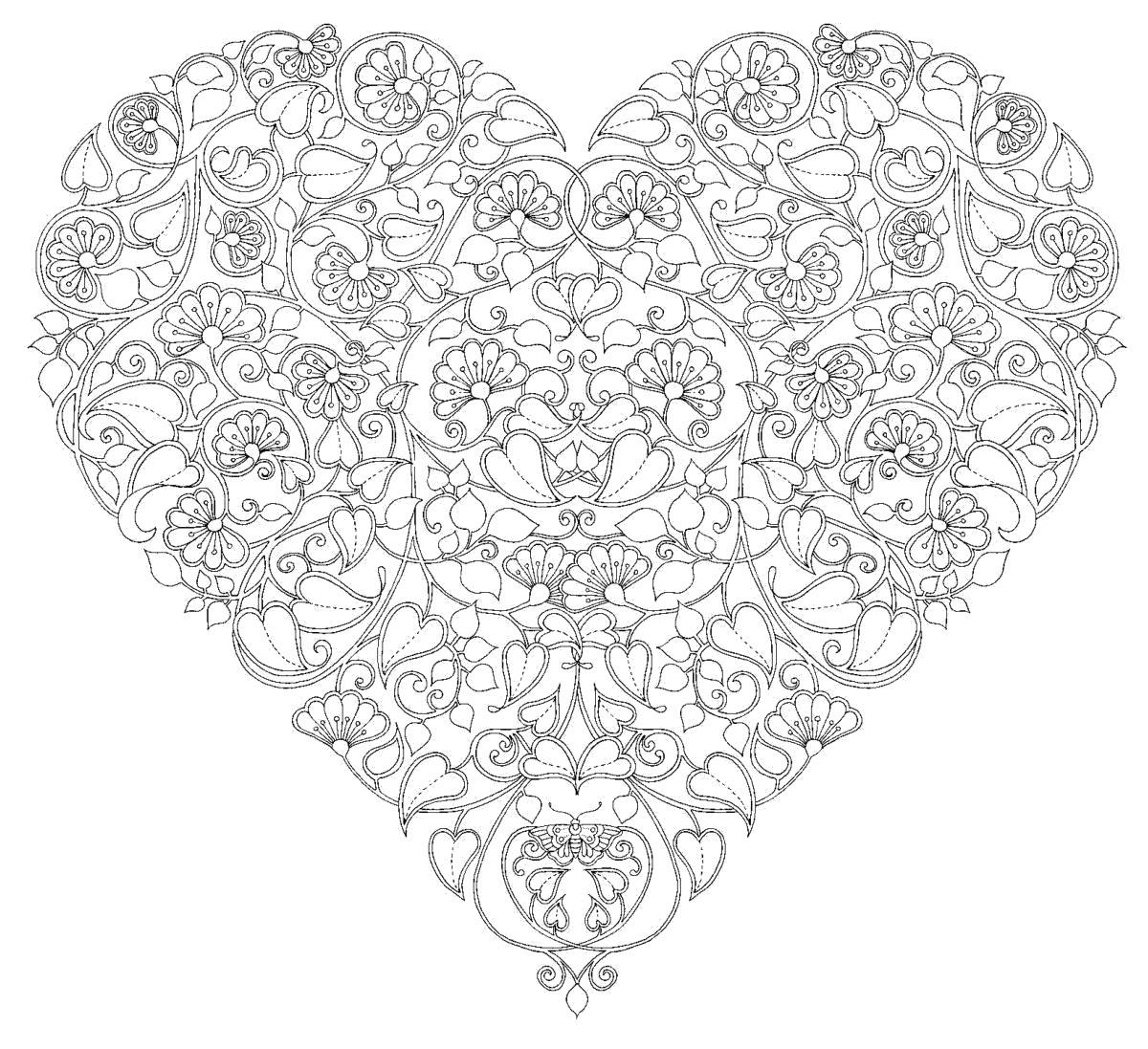 Раскраска Антистресс Идеальный антистресс или  для взрослых, сердце из цветов и листьев  распечатать. Скачать сердечко.  Распечатать День святого валентина