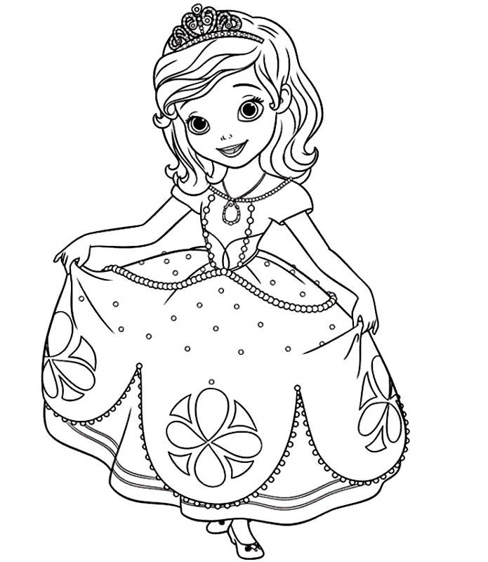 Раскраска София в красивом платье. Скачать принцесса.  Распечатать Для девочек