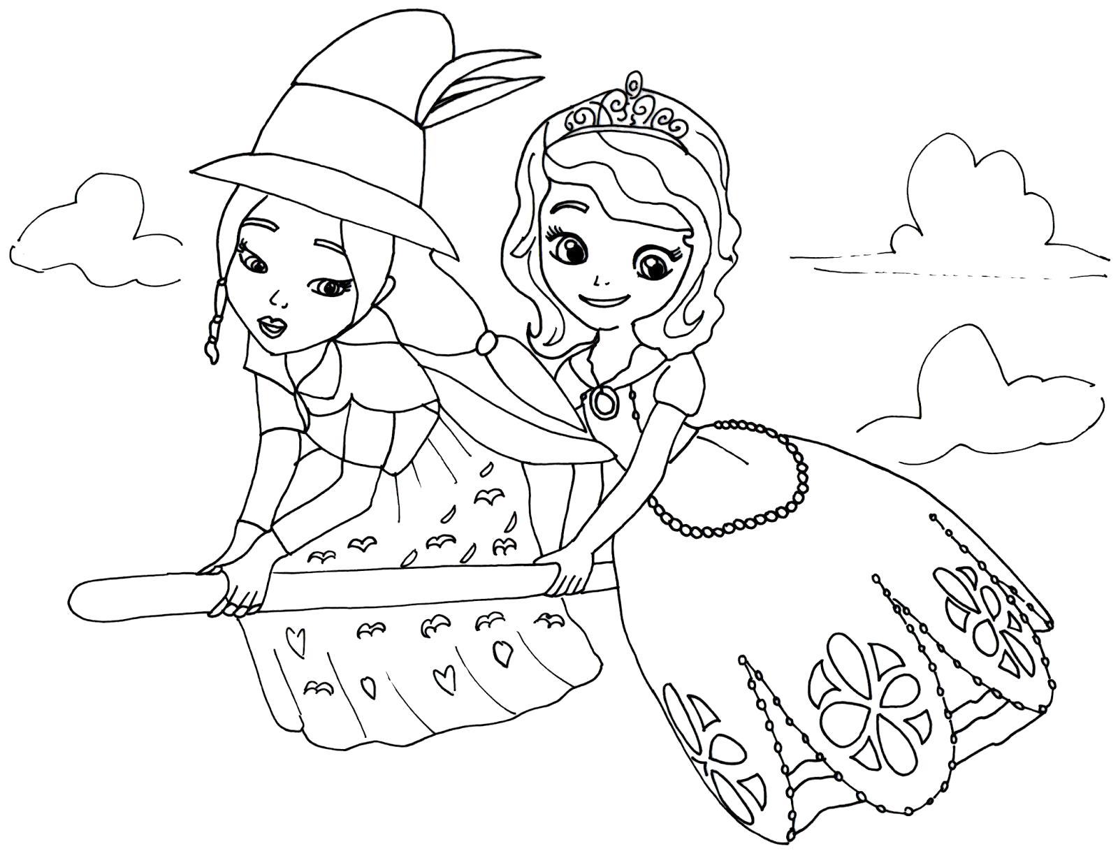 Раскраска София летает на метле. Скачать принцесса.  Распечатать принцесса