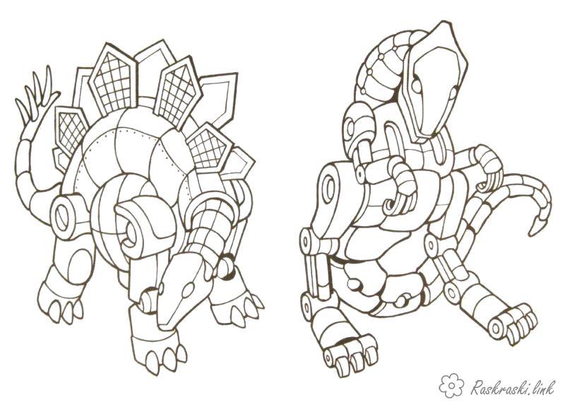 Раскраска  роботы робото динозавры. Скачать Робот.  Распечатать Робот