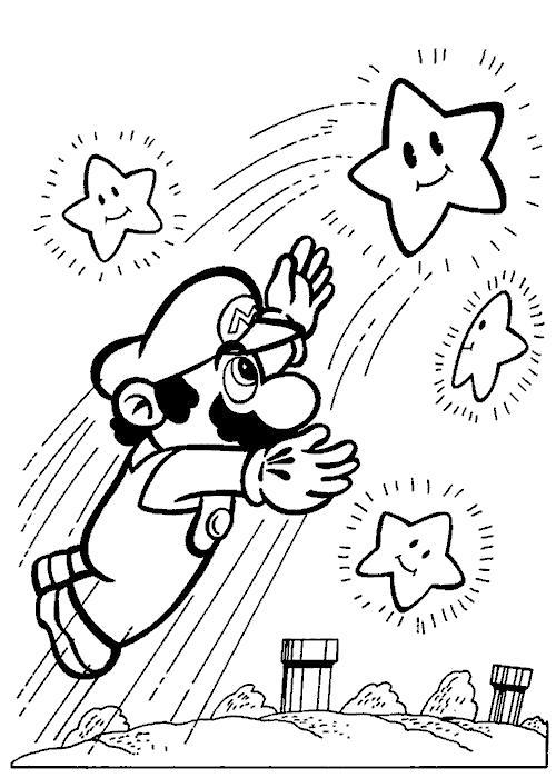 Раскраска Марио и звездочки. Скачать Марио.  Распечатать Марио