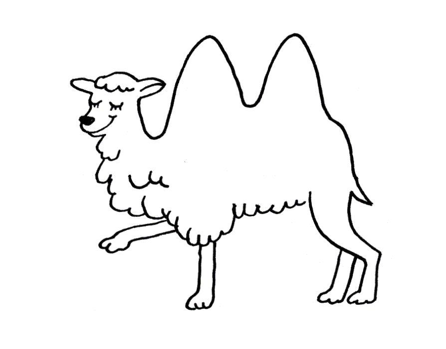 Раскраска Раскраска верблюд для детей двухгорбый верблюд. Верблюд
