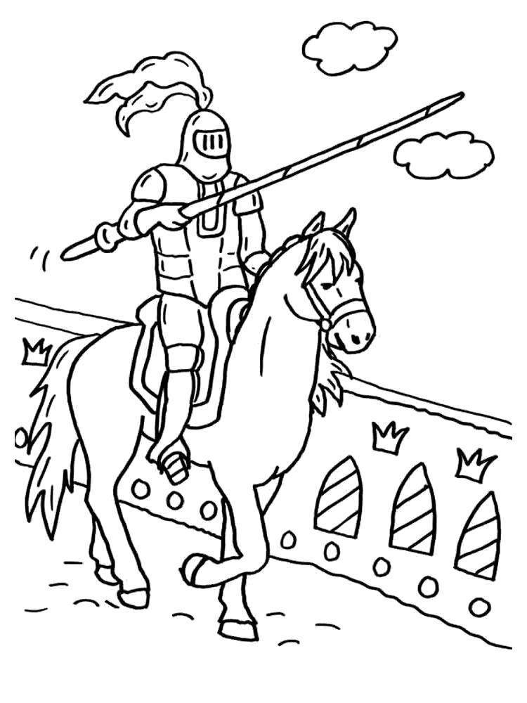 Раскраска Рыцарь в доспехах. Скачать рыцари.  Распечатать рыцари