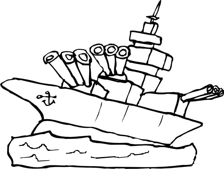 Военный корабль раскраска для малышей
