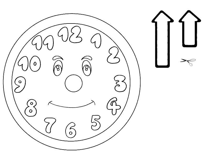 Раскраска часы, стрелки часов. Скачать Часы.  Распечатать Часы
