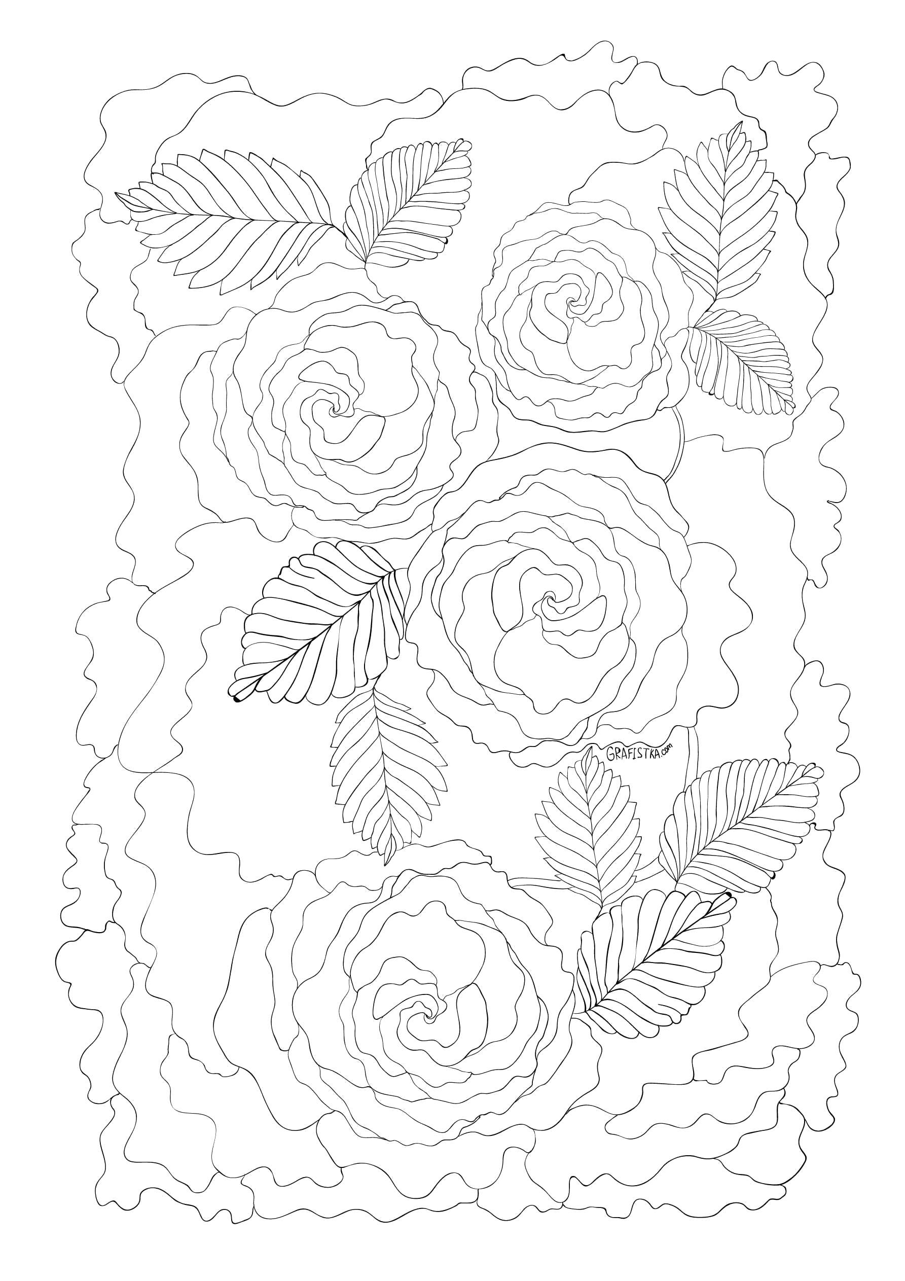 Раскраска Антистресс Идеальный антистресс или  для взрослых, розы  распечатать. Скачать для взрослых.  Распечатать для взрослых