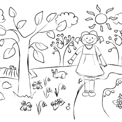 Раскраска Прогулка по улице. Весна