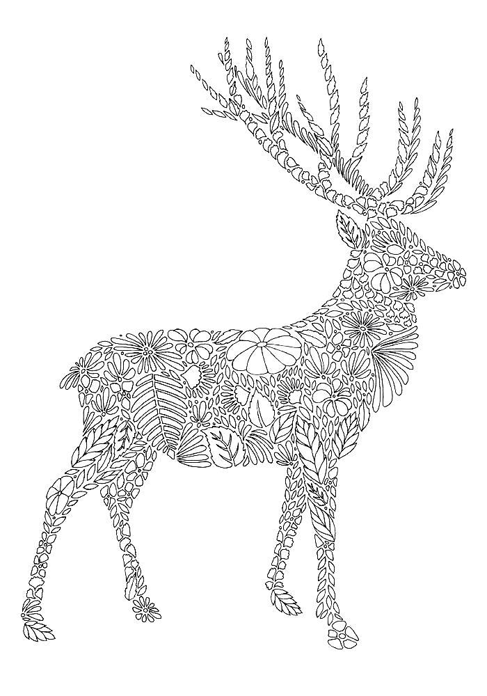 Раскраски олень, Раскраска Олень со стразами Дикие животные.