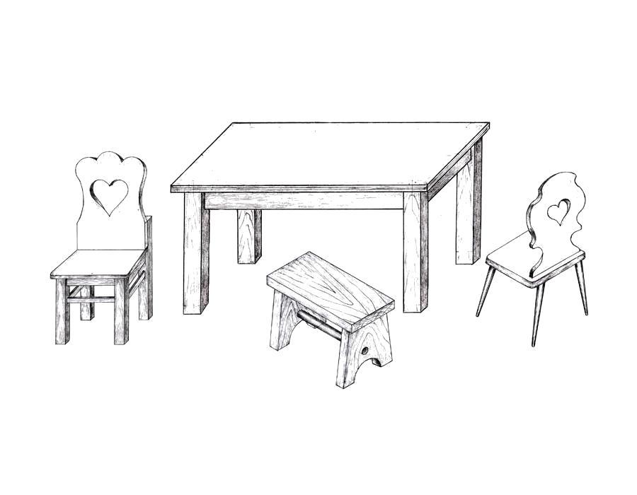 Раскраска столы со стульями