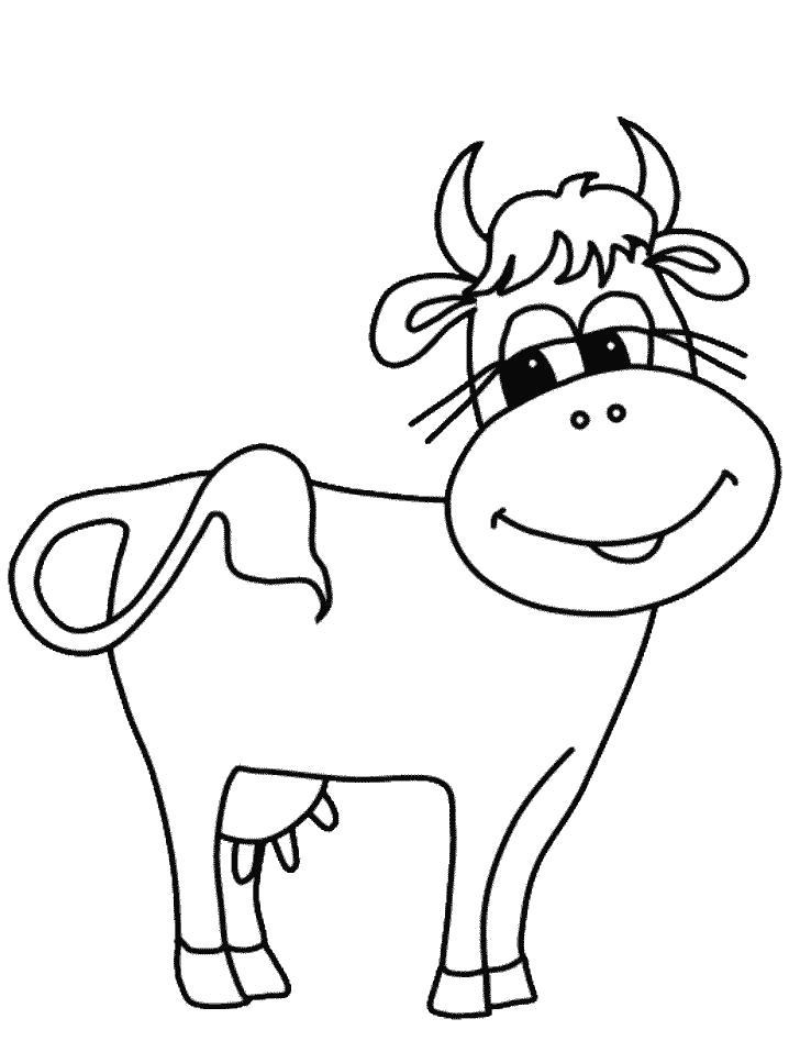 Название: Раскраска Раскраски для детей. Категория: Домашние животные. Теги: Корова.
