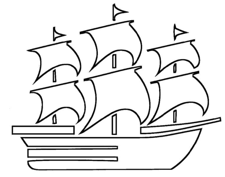 """Раскраска  """"корабль с парусами"""" . Скачать корабль.  Распечатать для мальчиков"""