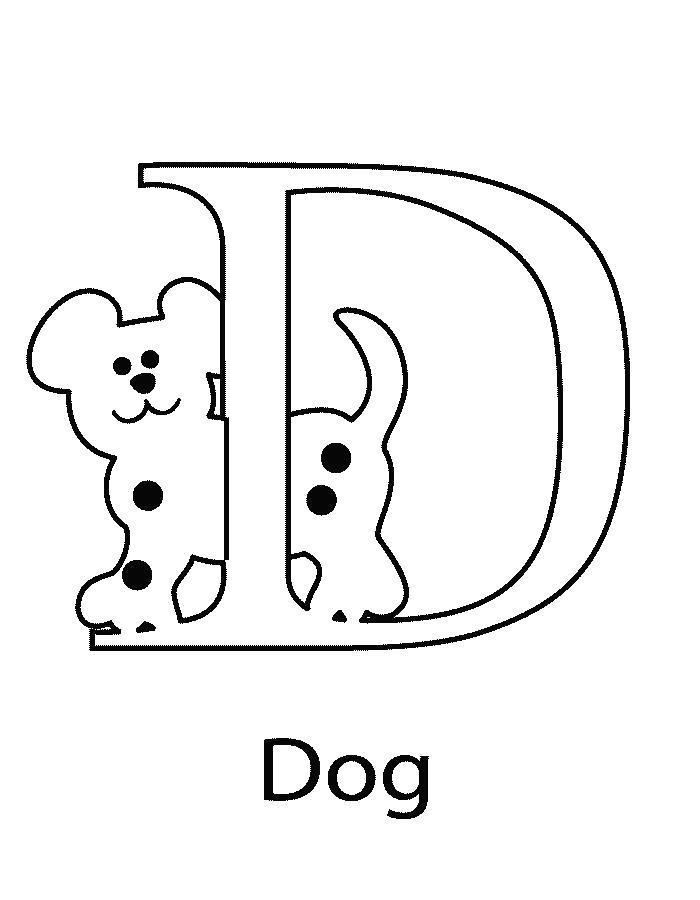 Раскраска D. Английский алфавит