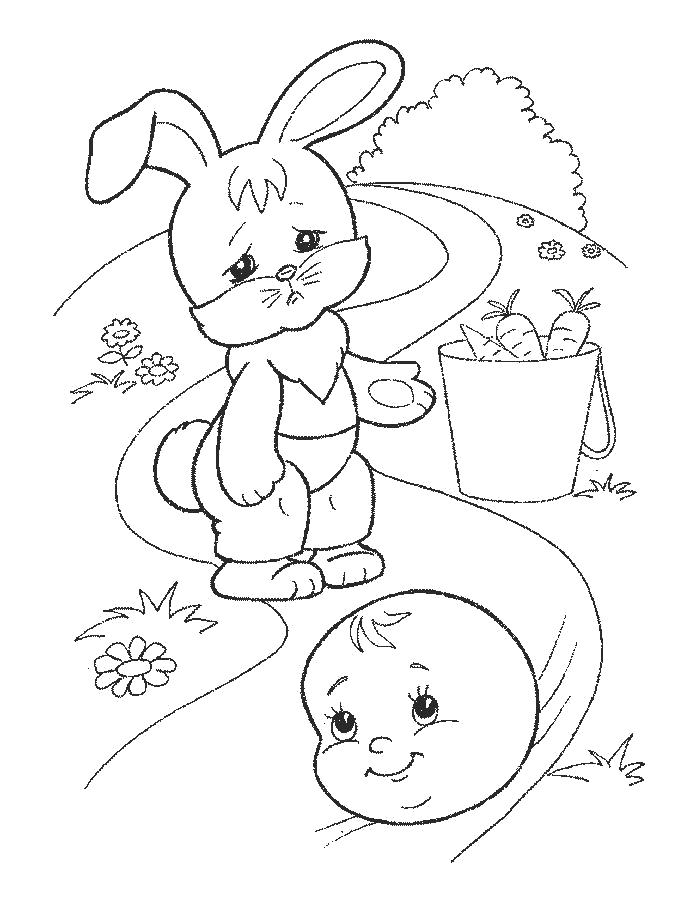 Раскраска колобок убегает от зайца. колобок