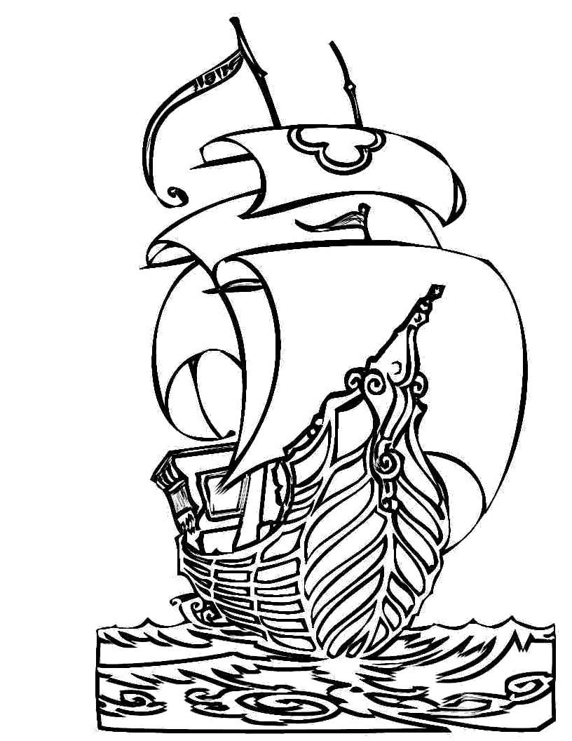 Раскраска  для детей корабль. Скачать корабль.  Распечатать для мальчиков