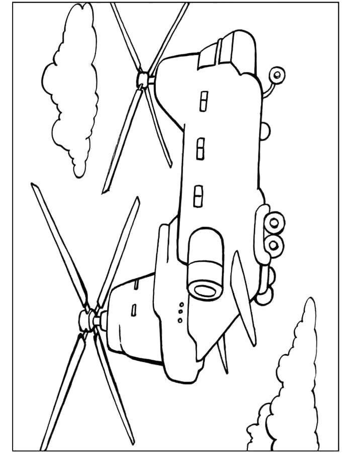 Раскраска Большой Вертолёт Boeing MH-47E. Скачать вертолет.  Распечатать вертолет