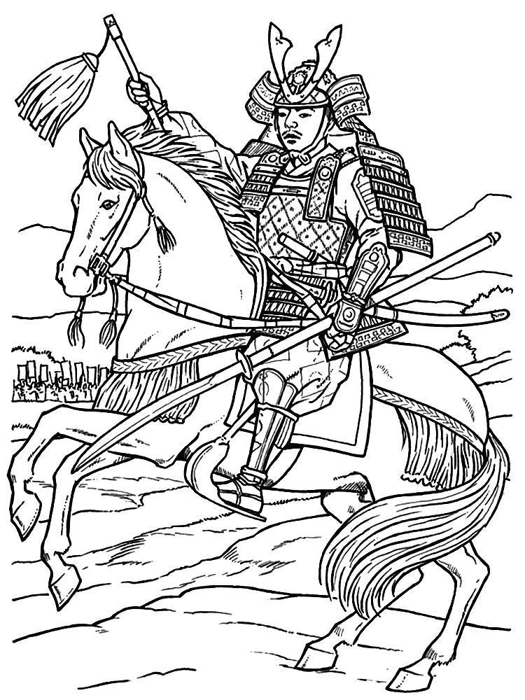 Раскраска Самурай на коне.