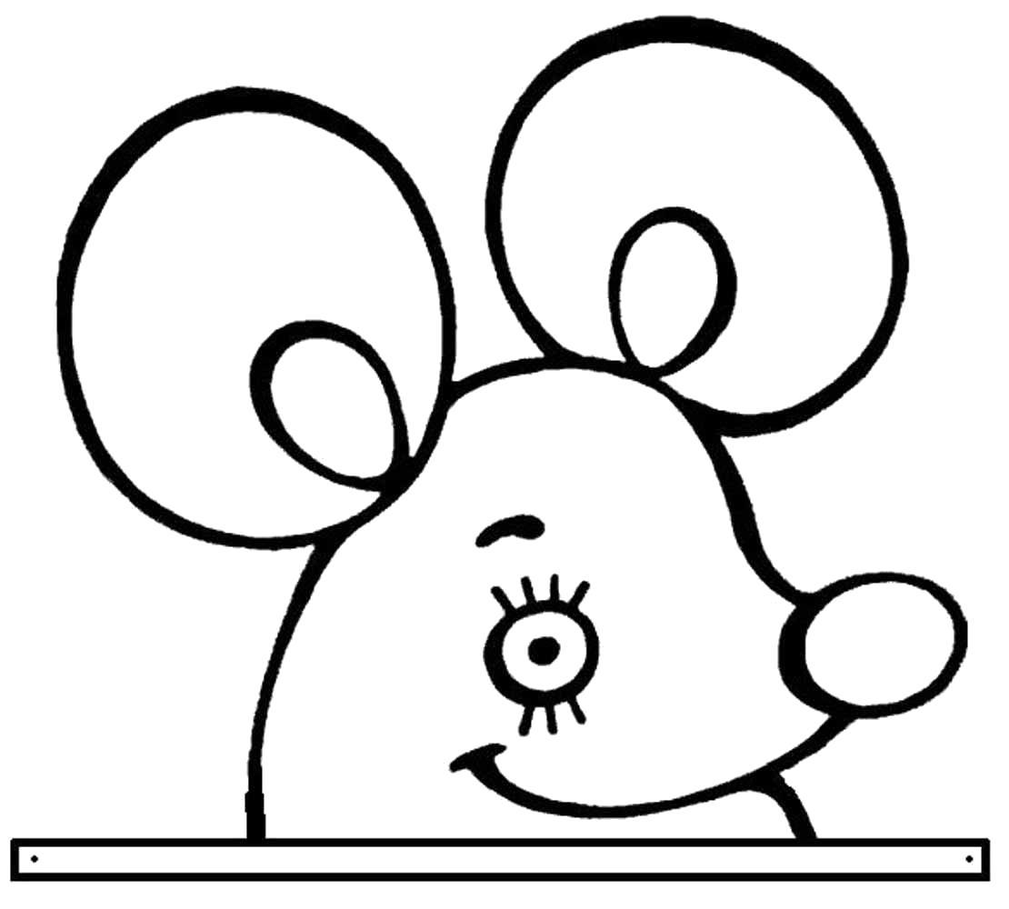 Раскраска ушки мышки шаблон