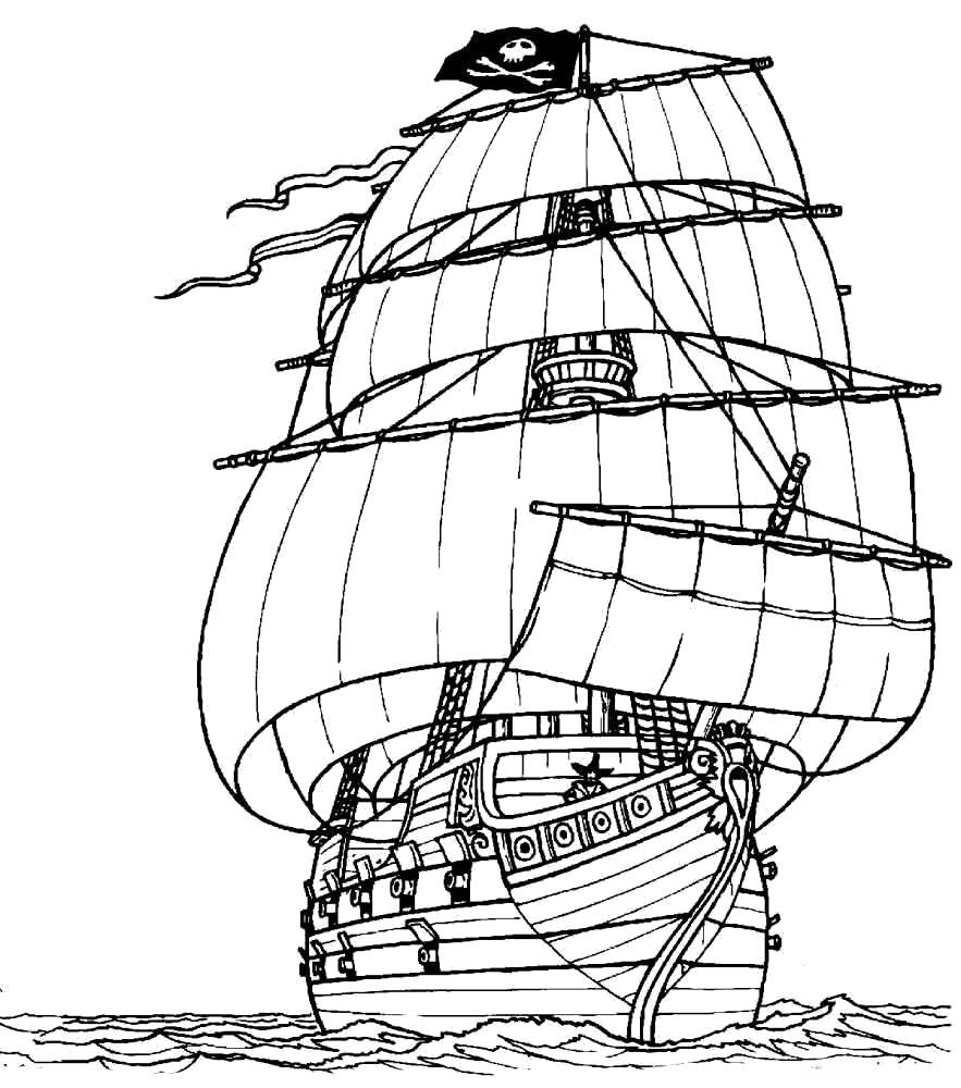 Раскраска  корабль. Скачать корабль.  Распечатать для мальчиков