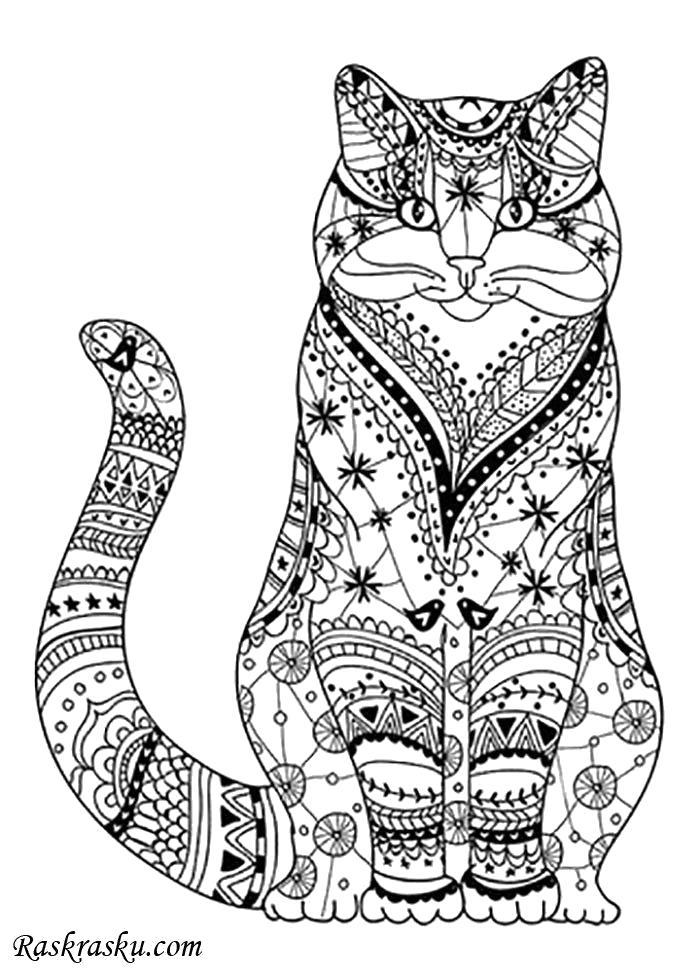 Раскраска Кот антистресс. Домашние животные