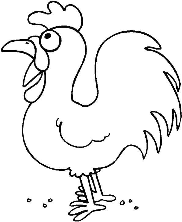Название: Раскраска Смешной петушок. Категория: Домашние животные. Теги: Петух.