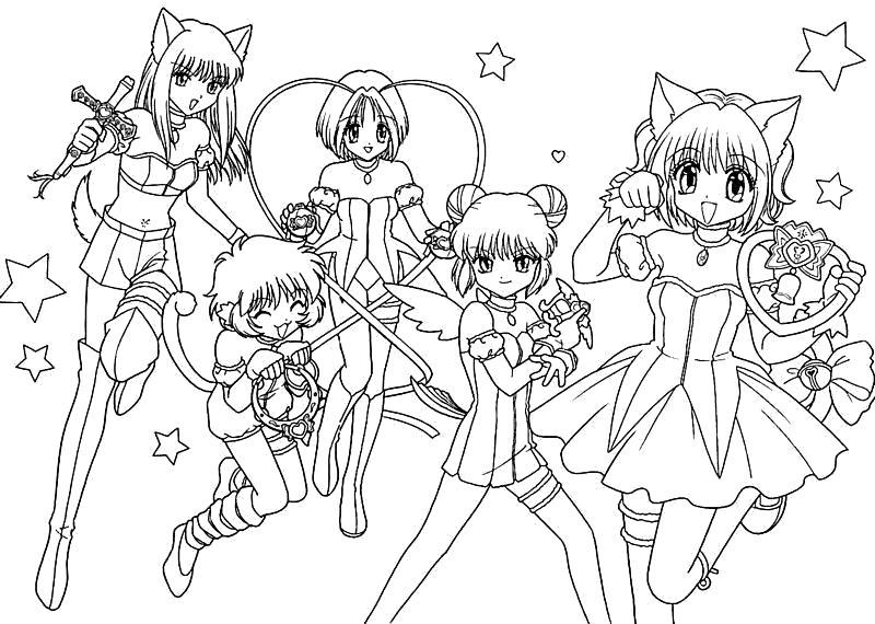 """Раскраска  """"аниме девушки кошки"""". Скачать Аниме.  Распечатать Аниме"""