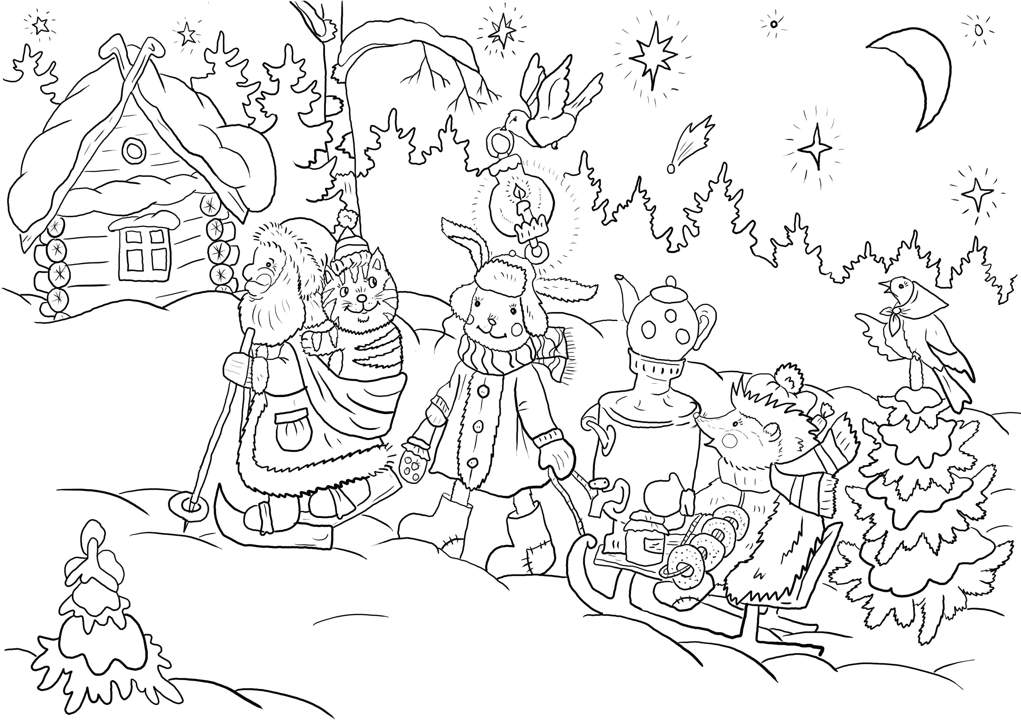 Раскраска дед мороз с ребятишками. новогодние