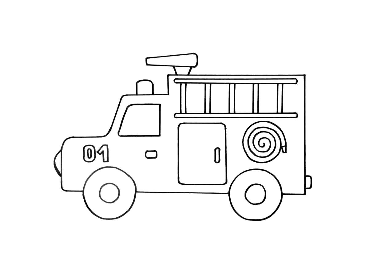 Раскраска машина, пожарная машина, машина для тушения пожара, . Скачать Для мальчиков.  Распечатать Для мальчиков
