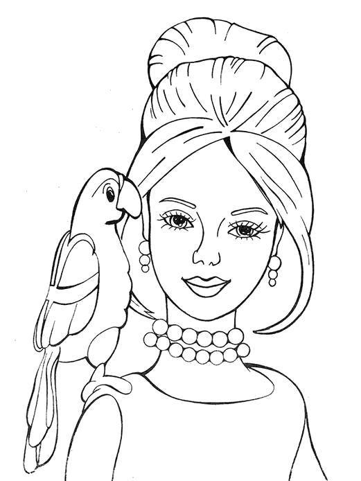 Раскраска Принцесса и попугай. принцесса