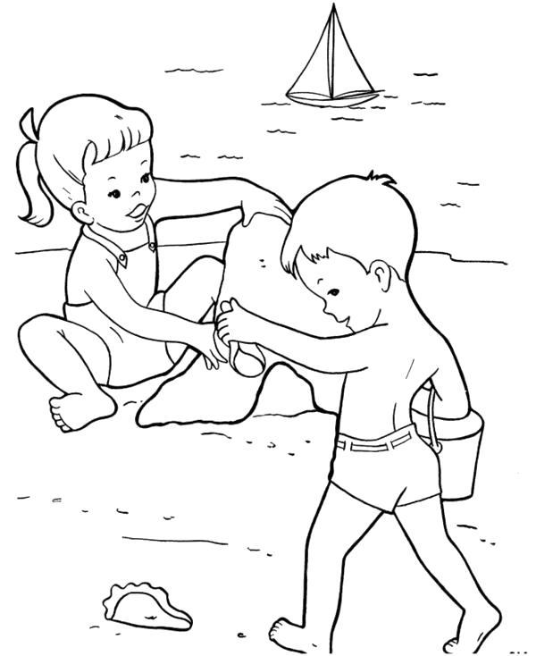 Раскраска Раскраски лето раскраска дети на ляже играют. Лето