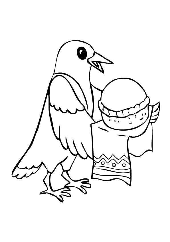 Раскраска Раскраска Сорока с пирогом. Сорока