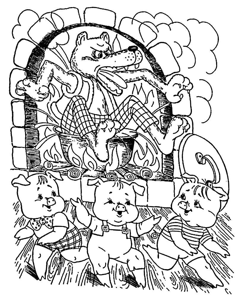 Раскраска Сказки  для малышей. Скачать три поросенка.  Распечатать сказки
