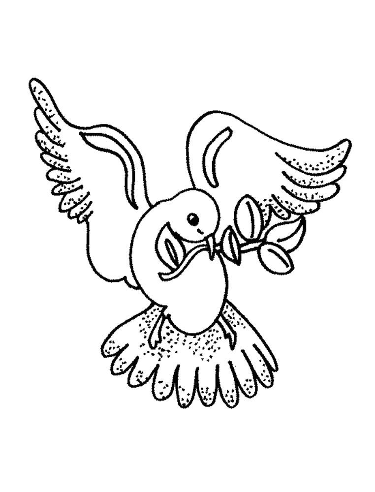 Раскраска Раскраска голубь летит с веточкой. Голубь