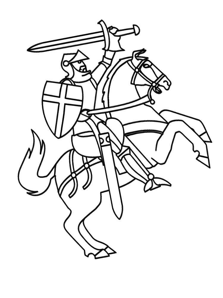 Раскраска рыцари картинки и раскрашки. Скачать рыцари.  Распечатать рыцари