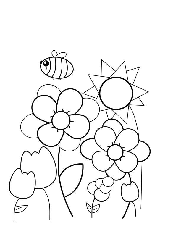 Раскраска Раскраска пчела на цветами. Насекомые