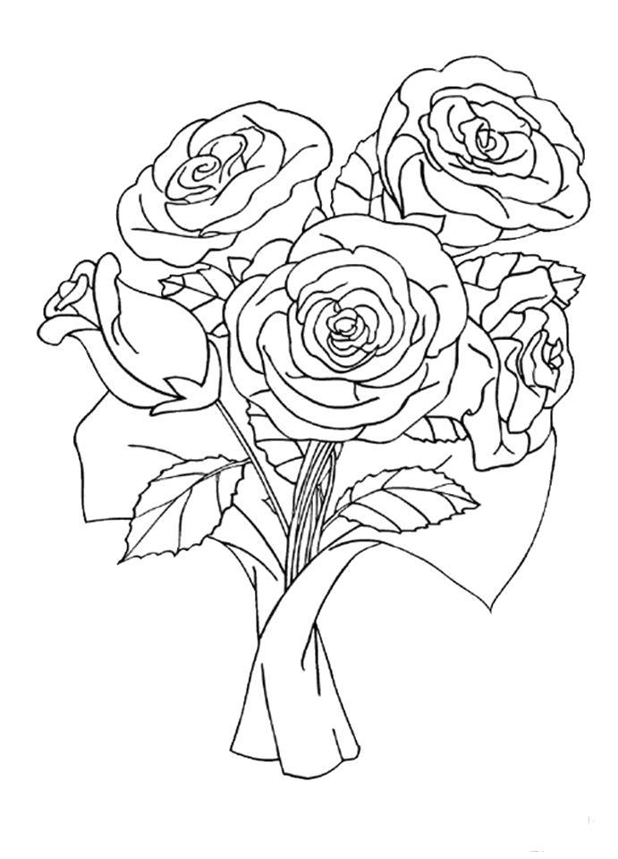 Раскраска красивые розы, букет цветов, букет роз. Скачать Букет.  Распечатать Букет