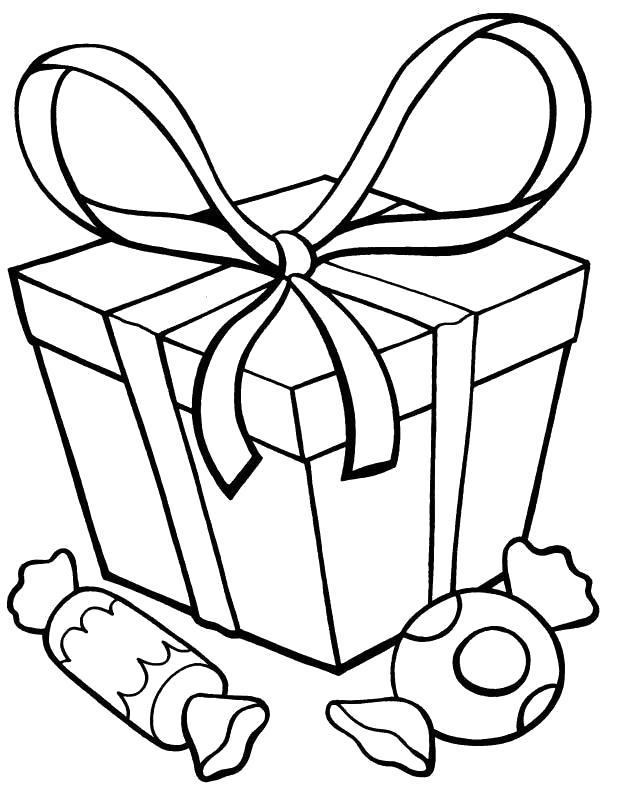 Раскраска подарок и конфетки. Скачать Подарки.  Распечатать Подарки