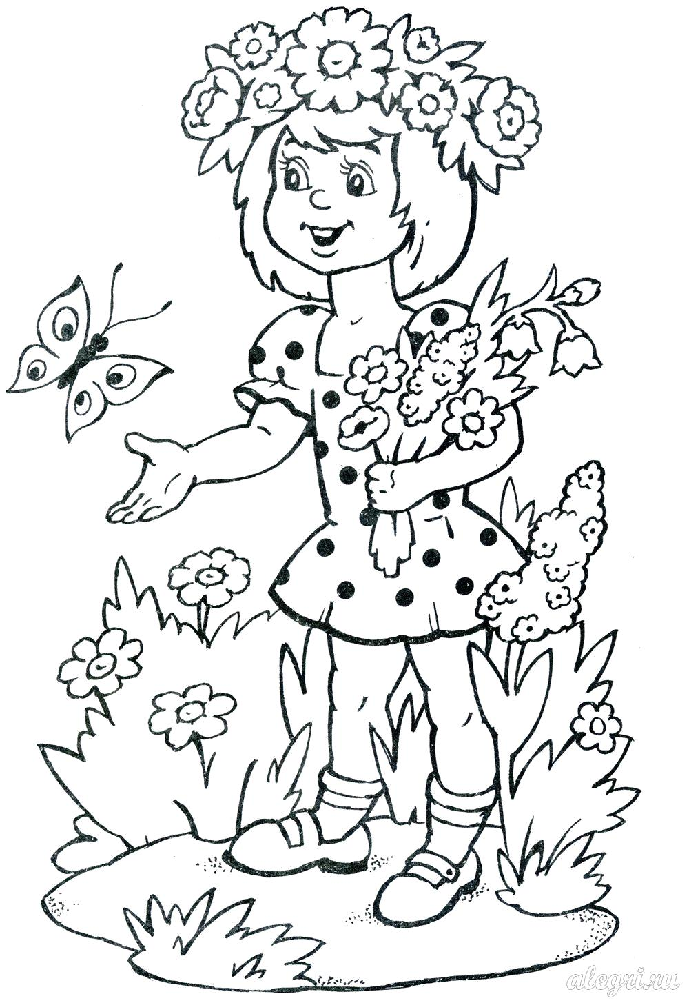 Раскраска  Лето для детей. девочка собрала букет цветов. Бабочка. Скачать Лето.  Распечатать Лето