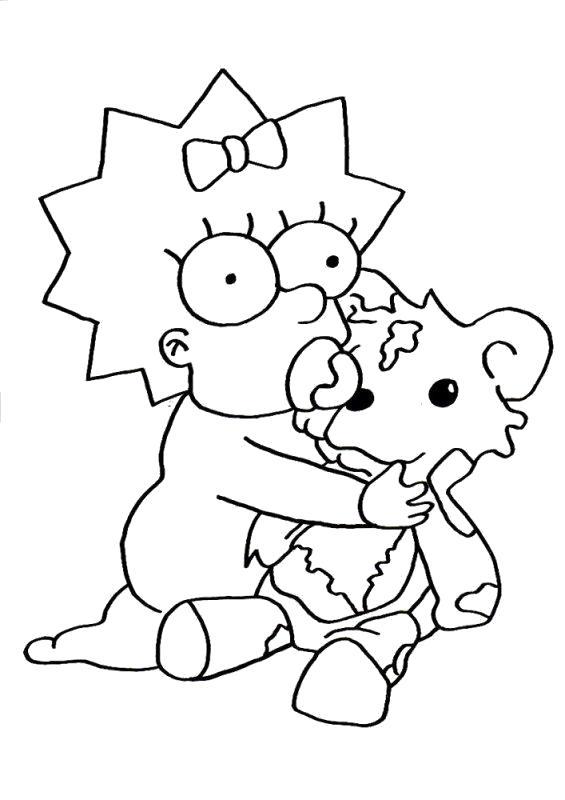 Раскраска Мэгги играетсяяя с игрушкой, Мэгги  и игрушка. Симпсоны