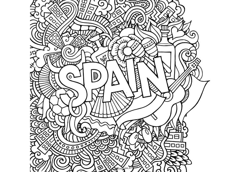 Раскраска  антистресс -Испания. Скачать антистресс.  Распечатать антистресс