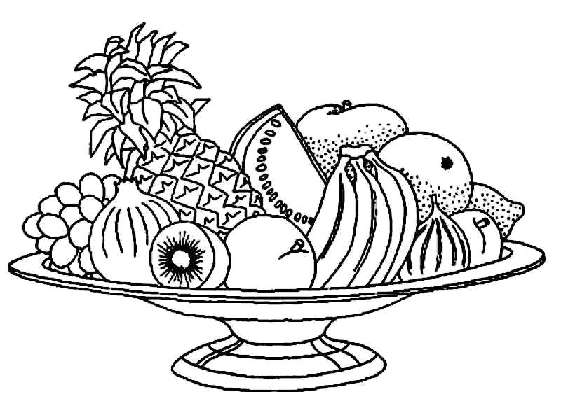 Раскраска Посуда для фруктов. Скачать посуда.  Распечатать посуда
