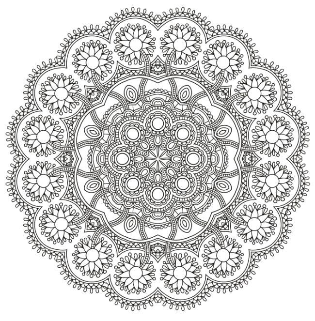 Раскраска Цветочная мандала -  для взрослых. Скачать цветы, круглые.  Распечатать антистресс